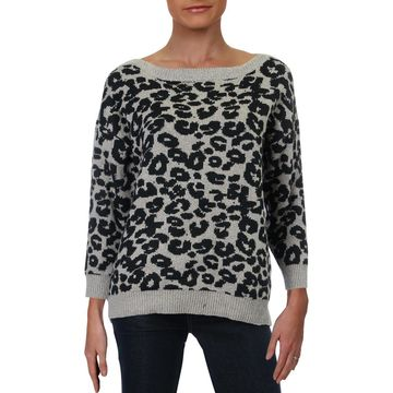 August Silk Womens Leopard Print Boat Neck Pullover Sweater