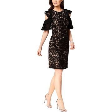 Xscape Womens Cocktail Dress Lace Cold Shoulder
