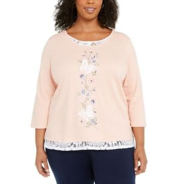 Alfred Dunner Plus Size Embroidered Butterfly Top
