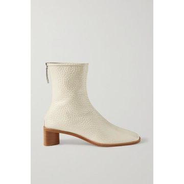Acne Studios - Textured Patent-leather Ankle Boots - Off-white