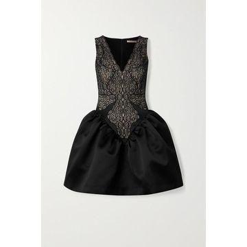 Christopher Kane - Lace And Duchesse-satin Mini Dress - Black