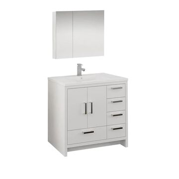 Fresca Senza 36-in Glossy White Single Sink Bathroom Vanity with White Acrylic Top (Faucet Included) | FVN9436WH-R