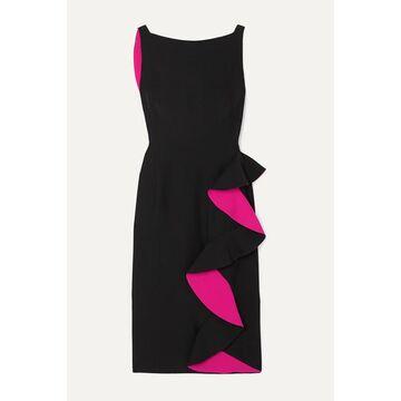 Alexander McQueen - Ruffled Two-tone Crepe Dress - Black