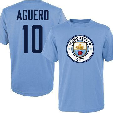 Outerstuff Youth Manchester City Sergio Aguero #10 Blue Player Tee