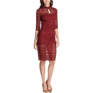 Kensie Womens Lace Cocktail Midi Dress
