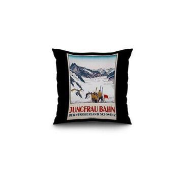 Jungfrau Bahn Vintage Poster (artist: Cardinaux, Emil) Switzerland c. 1919 (16x16 Spun Polyester Pillow, Black Border)