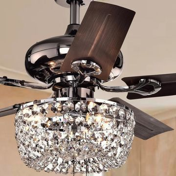 Angel 3-light Crystal Chandelier 5-blade 43-inch Brown Ceiling Fan (Optional Remote)