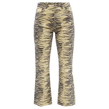 Ganni - Zebra-print Organic Cotton-blend Kick-flare Jeans - Womens - Light Yellow