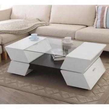Furniture of America Anjin Enzo Contemporary Two-tone Multi-storage Coffee Table (White)