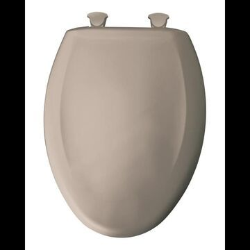 Bemis 1200SLOWT Elongated Closed-Front Toilet Seat and Lid with Whisper-Close Easy-Clean & Change and STA-TITE Seat Fastening System Fawn Beige