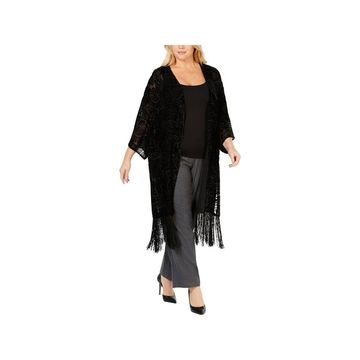 Anne Klein Womens Plus Caftan Silk Blend Fringe - 2X/3X