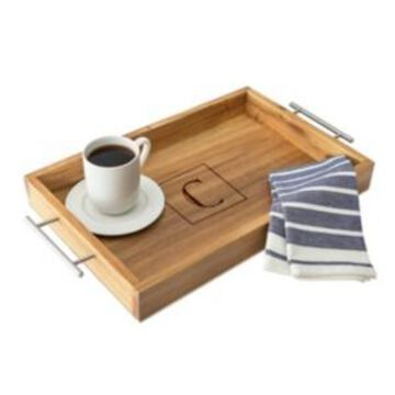 Cathy's Concepts Personalized Acacia Tray with Metal Handles