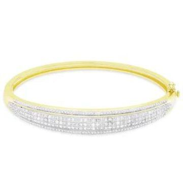Finesque Gold or Silver Overlay 1/2 ct TDW Diamond Bangle (Yellow)