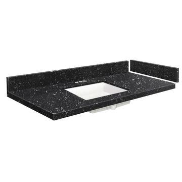 Transolid 33-in Interlude Quartz Single Sink Bathroom Vanity Top in Black | VT33.5X22-1KU-4L-4