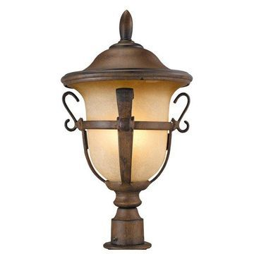 Kalco Tudor Walnut Post Mount Light Fixture