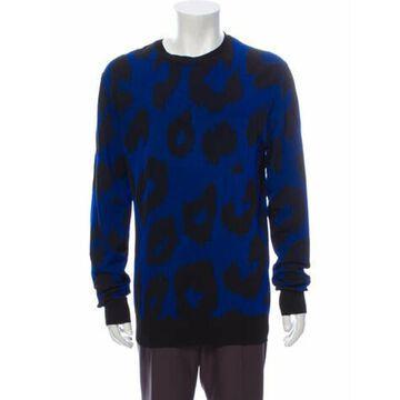 Printed Crew Neck Pullover Blue