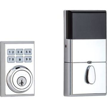Kwikset 909 SmartCode Contemporary Electronic Deadbolt featuring SmartKey Security in Polished Chrome