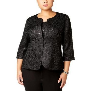 Alex Evenings Womens Plus 2PC Sequined One-Button Blazer