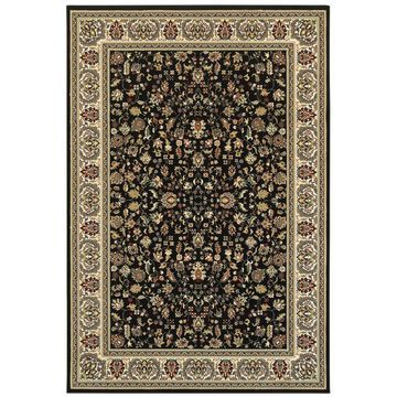 Style Haven Floral Traditions Black/Ivory Area Rug (9'10 x 12'10) - 9'10