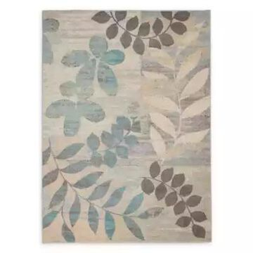 Nourison Tranquil Leaves 4' x 6' Area Rug in Ivory/Light Blue