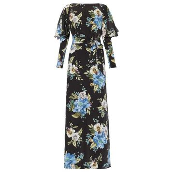 Erdem - Jude Carnation-print Silk Maxi Dress - Womens - Black Print