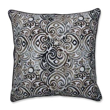 Pillow Perfect Corinthian Driftwood Black Patio Chair Cushion Polyester