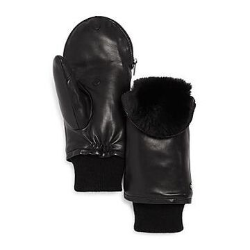 Echo Faux-Fur Lined Zip-Top Leather Mittens - 100% Exclusive
