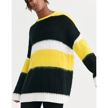 Heart & Dagger fluffy striped sweater in yellow and black