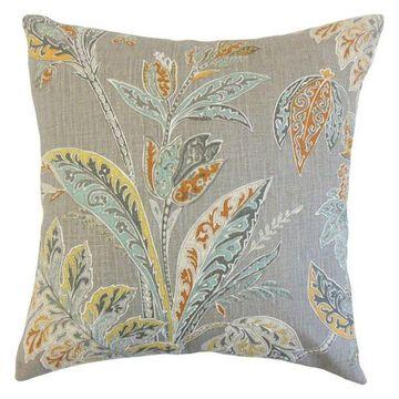 Taja Floral Pillow, Turmeric, 24