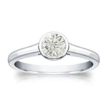 Auriya 14k Gold 1/3ctw Bezel-set Solitaire Diamond Engagement Ring (White - 10)