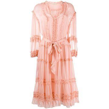 silk frill-trim midi dress