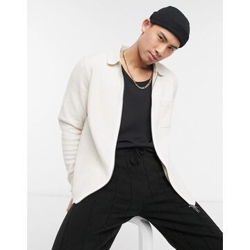 Selected Homme knit zip through jacket in ecru-White