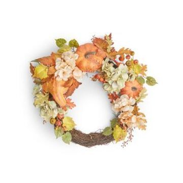 Martha Stewart Collection Pumpkin and Leaves Asymmetrical Harvest Wreath, Created for Macy's