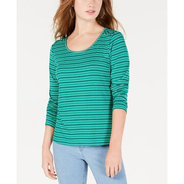 Juniors' Striped Lace-Up Shoulder Top