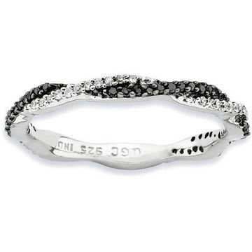 Black/White Diamond Sterling Silver Polished Ring