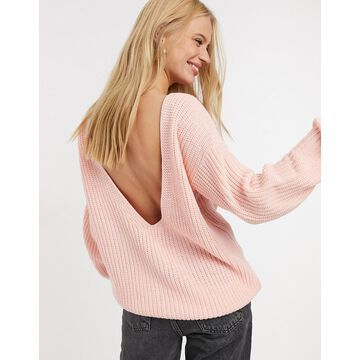 Glamorous relaxed sweater with scoop back-Pink