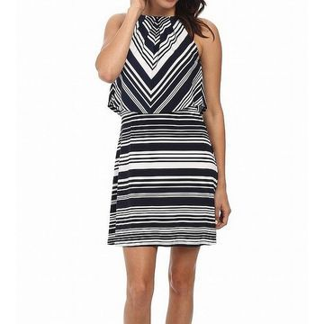 Jessica Simpson Womens Striped Popover Shift Dress