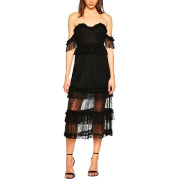 Bardot Womens Lace Off-The-Shoulder Midi Dress