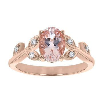 10K Rose Gold 1 1/3 ct. Morganite and Diamonds Leaf Ring by Beverly Hills Charm