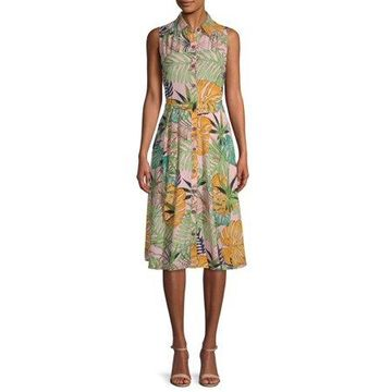 ECI Women's Floral Tie Waist Dress