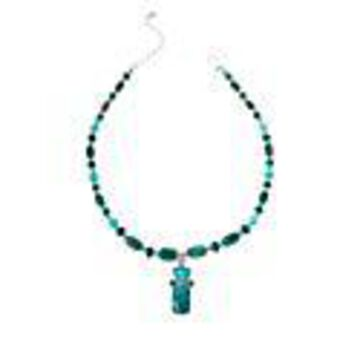 Mine Finds by Jay King Amazonite and Parrot Wing Stone Pendant with Necklace