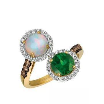 Le Vian Women 2.42 Ct. T.W. Diamond Opal Chrome Diopside Ring In 14K Yellow Gold - -