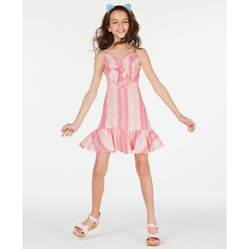 Big Girls Multi-Stripe Bow Dress