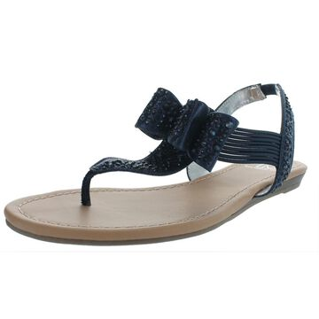 Material Girl Womens Shayleen Slingback Metallic Flat Sandals