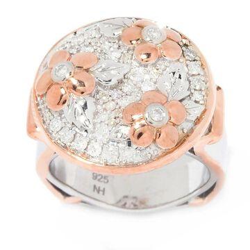 Michael Valitutti Palladium Silver Diamond Flower Cluster Ring