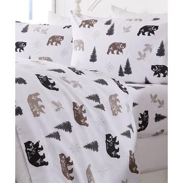 Home Fashion Designs Sheet Sets Rustic - White & Black Rustic Bear Belle Flannel Sheet Set