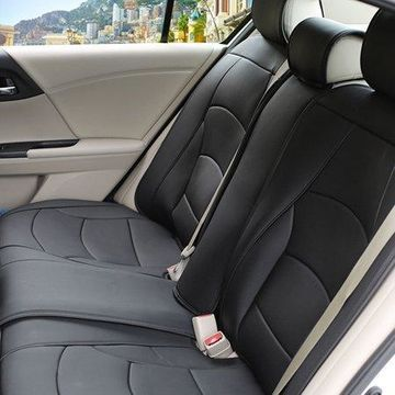 FH Group Ultra Leatherette Rear Bench Seat Cushions, Solid Black