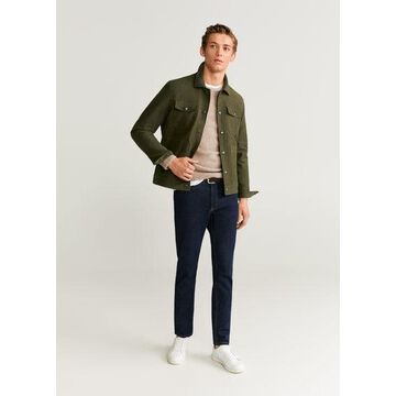MANGO MAN - Textured cotton-blend jacket khaki - L - Men