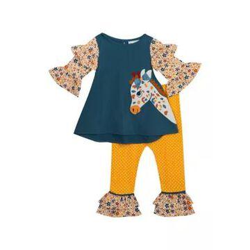 Rare Editions Girls' Toddler Girls Giraffe Ruffle Top With Leggings Set - -