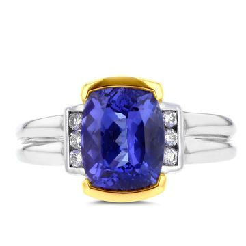 La Vita Vital 18k Two-Tone Gold Tanzanite and 1/8ct TDW White Diamond Ring